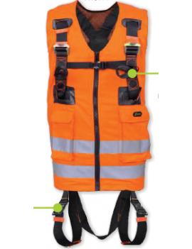 2 punts harnas met oranje signaalvest en snelsluitingen